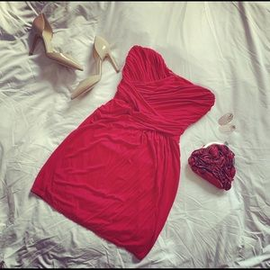Express | Red, Ruched Mini Party Dress